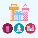 Set icons with  gift boxes, christmas tree with gift boxes, vector illustration Stock Photography