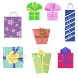 Set of icons with gift wrap Stock Photography