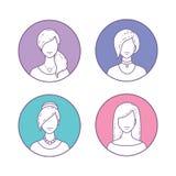 Set of Icons girls avatars Royalty Free Stock Photography