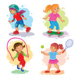 Set icons of girls playing tennis, jumping rope, skating. Set of icons of girls playing tennis, jumping rope, roller-skating and skateboard Stock Image