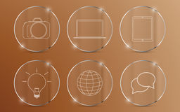 Set of icons on glass circle with metallic edge Royalty Free Stock Photography
