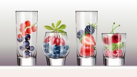 Set of icons glasses with a variety fresh berries vector illustration