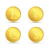 Set icons of gold coins. Currency dollar, euro, pound sterling a Royalty Free Stock Photo