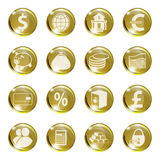 Set of icons of gold color on a subject bank. Royalty Free Stock Photo