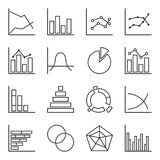 Set of icons of graphic diagrams. Easily editable outline. Isolated vector on white background.  Royalty Free Stock Images