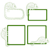 Set of icons with green chameleon. EPS10 Stock Photos