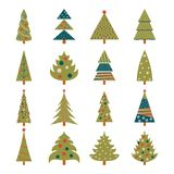Set of icons of green Christmas trees. Decorated with colorful balls, garlands and stars. New Year. Design for banner, sticker, label. Vector illustration Royalty Free Stock Photo