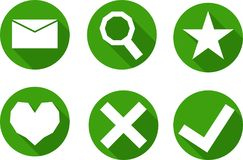 Set of icons in a green circle, vector. Set of simple icons in a circle, in green tones, vector Royalty Free Stock Image