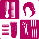 Set icons for hair salon. Wig, hair, scissors, comb and shearer Stock Photos