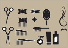 Set of icons hairdressing salon. Set of small black icons hairdressing salon Royalty Free Stock Photo
