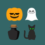 Set of icons for Halloween. Symbol dreaded holiday: Ghost and bl Stock Images