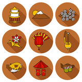 Set of icons in hand drawn cartoon style on Japan Stock Photos