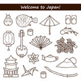 Set of icons in hand drawn outline style on Japan Royalty Free Stock Photo