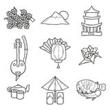 Set of icons in hand drawn outline style on Japan Stock Photos
