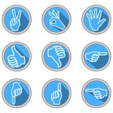 A set of icons with hand gestures in modern flat design with long shadow. Body language Stock Photo