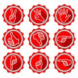 Set of icons with hand gestures in modern flat design with long shadow Royalty Free Stock Image