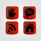 Set of icons - Hand, Message, Wi fi and Home icons. Vector Stock Photography