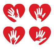 Set of icons with hands and hearts. Set of icons with hands on a background of red hearts Royalty Free Stock Photo