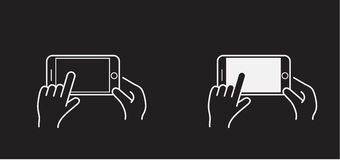 Set of Icons with Hands Holding Smart Device. With Gestures Royalty Free Stock Images
