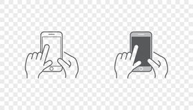 Set of Icons with Hands Holding Smart Device with Gestures. EPS 10 Royalty Free Stock Photo