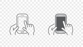 Set of Icons with Hands Holding Smart Device with Gestures. EPS 10 Stock Photo