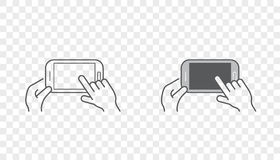 Set of Icons with Hands Holding Smart Device with Gestures. EPS 10 Royalty Free Stock Photos
