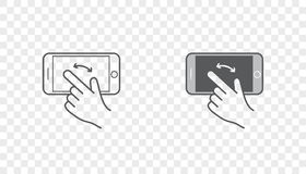 Set of Icons with Hands Holding Smart Device with Gestures Stock Photo