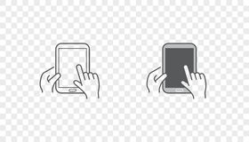Set of Icons with Hands Holding Smart Device with Gestures Royalty Free Stock Images