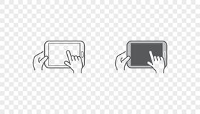 Set of Icons with Hands Holding Smart Device with Gestures Stock Photography