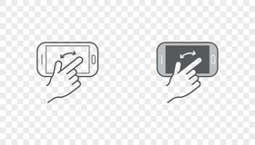 Set of Icons with Hands Holding Smart Device with Gestures Royalty Free Stock Photography