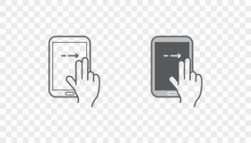 Set of Icons with Hands Holding Smart Device with Gestures. EPS 10 Stock Photography