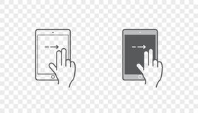 Set of Icons with Hands Holding Smart Device with Gestures Stock Photos