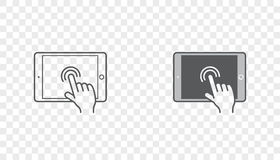 Set of Icons with Hands Holding Smart Device with Gestures Stock Image