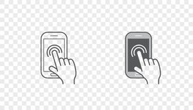 Set of Icons with Hands Holding Smart Device with Gestures. EPS 10 Stock Image