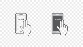 Set of Icons with Hands Holding Smart Device with Gestures Royalty Free Stock Photos