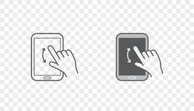 Set of Icons with Hands Holding Smart Device with Gestures Royalty Free Stock Photo