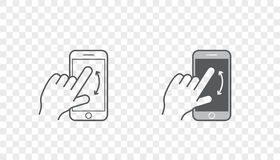 Set of Icons with Hands Holding Smart Device with Gestures Stock Images