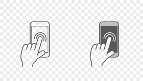 Set of Icons with Hands Holding Smart Device with Gestures Royalty Free Stock Image