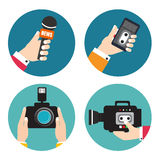 Set of icons with hands holding voice recorders, microphones, ca Stock Photos
