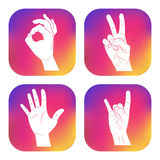 Set of icons with hands. New design for applications, web, social networks. Gesture ok sign. Victory. Palm. Rock Stock Photo