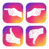 Set of icons with hands. New design for applications, web, social networks. Thumbs up. Like. Dislike. Good. Ok. Pointing finger icon. Navigation, direction Stock Images