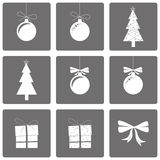 Set of icons happy new year and christmas Royalty Free Stock Image