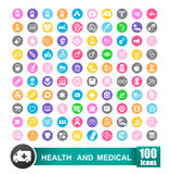 Set of 100 icons of health and medical with circle color backgro Royalty Free Stock Images