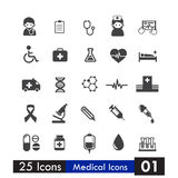 Set of 25 icons health and medical  on white background Stock Image