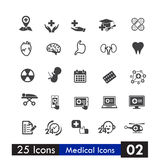 Set of 25 icons health and medical  on white background Stock Photos