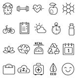 Set of icons healthy ecological lifestyle Stock Photos