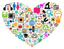 Set of icons in heart shape. Set of icons for website, computer, business, shopping, science, education and music. Vector illustration Royalty Free Stock Photo
