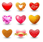 Set of icons hearts Stock Photos