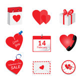 A set of icons with hearts for St. Valentine`s Day Royalty Free Stock Image