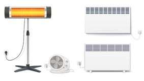 Set icons of heaters, household appliances on a white background. Convector, fan heater, UFO quartz heater with power. Cord and socket, isolated 3D illustration Royalty Free Stock Photo